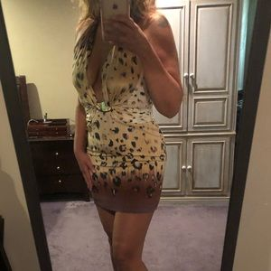 Bebe silk leopard print halter dress